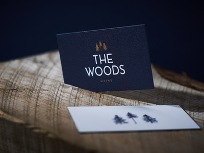 The Woods business cards identity design outdoorsy luxury luxe treehouse identity outdoors illustration branding the woods
