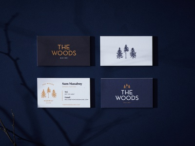 The Woods identity illustration brand identity identity design brand design branding maine in the trees tree business cards woods tree house outdoorsy outdoors the woods