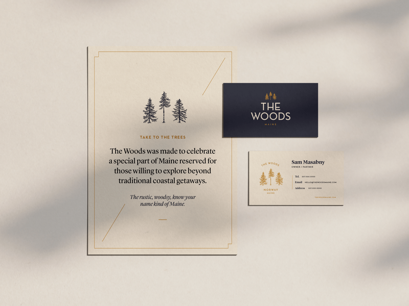 The Woods collateral print illustration brand design identity design brand identity branding treehouse the woods brand outdoorsy outdoors trees