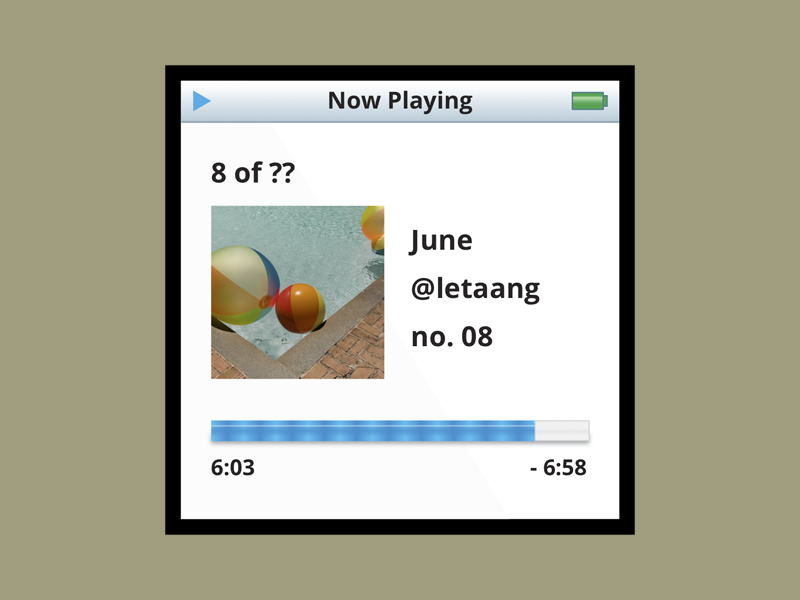 June's Nostalgia photography now playing spotify playlist ipod