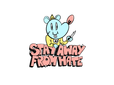 Stay away from hate! character concept cartoon character cartoon cartoon art font design procreate procreate app ilustración doodle art doodle character art character design illustration