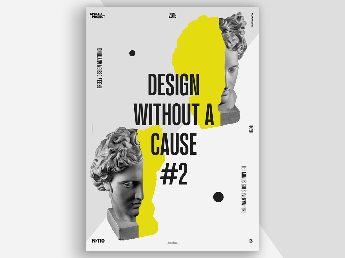 Design Without Cause #2 Poster #110 grey yellow sober minimalist minimal design experiment photoshop inspiration poster art speed art conception process creation creativity design challenge challenge poster design poster graphic designer graphic design