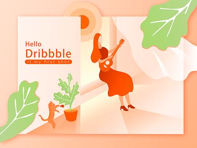 Hello dribbble first shots illustrations