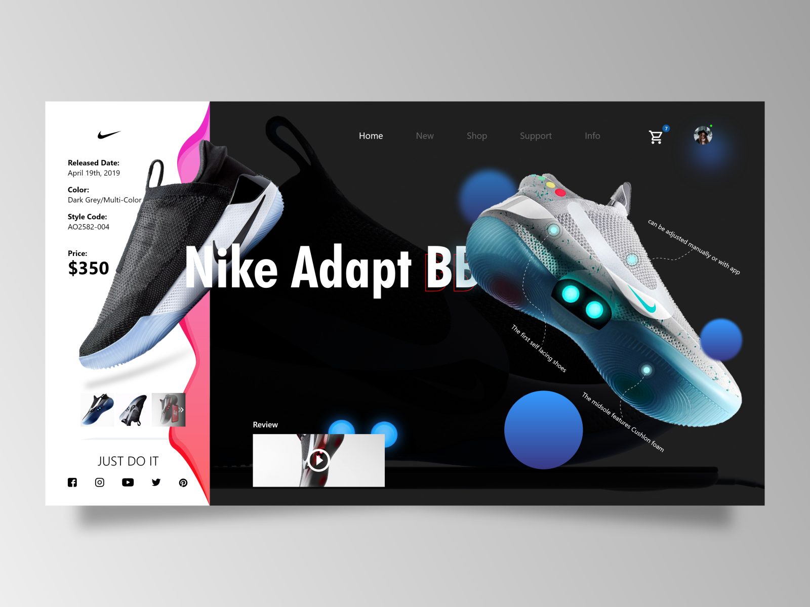 Nike Adapt BB Website Design by Gaurav