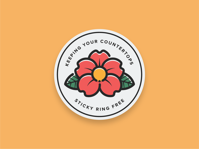 Flower Coastin' floral herbal minimal rose logo sticker mule coaster beer tea coffee badge sticker rose flower