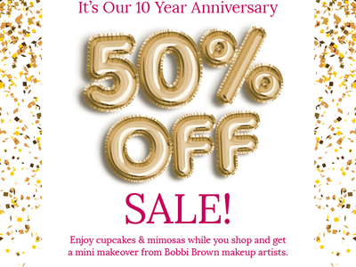 Sale Flyer gold pink sale flyer anniversary party foil balloons balloons confetti graphic design flyer sale