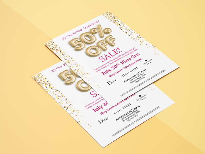 Sale Flyer graphic design pink party gold foil balloons confetti anniversary flyer anniversary flyer sale balloons