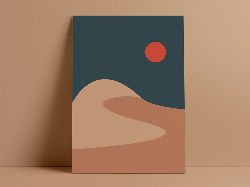 Flat Desert Illustration | Geometric Landscape | Sunset