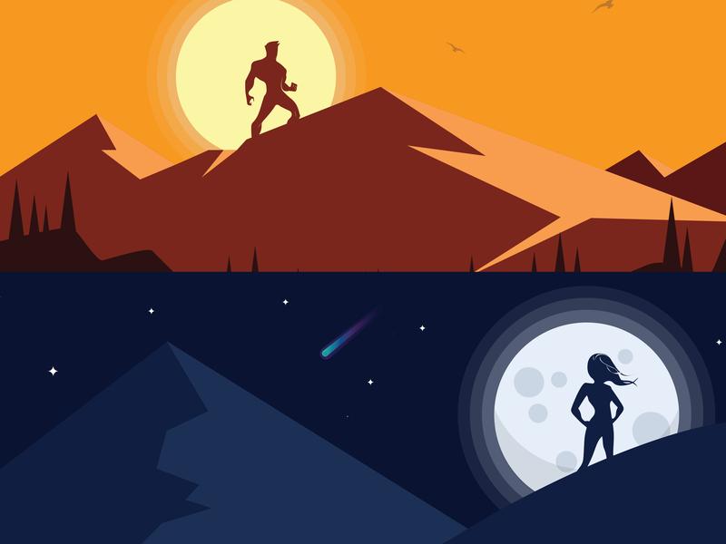 Flat Design Inspiration - Landscape Illustration (Night & Day) landscape design character star sky sun landscape illustration flat  design magic day night black
