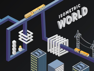 Isometric City Design - Trains. City. People.