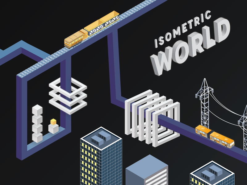 Isometric City Design - Trains. City. People. building 3d visual gradient awesome design design inspiration isometric city isometric train isometric view design illustration best design inspiration minimal flat  design isometric icons isometric illustration isometric design