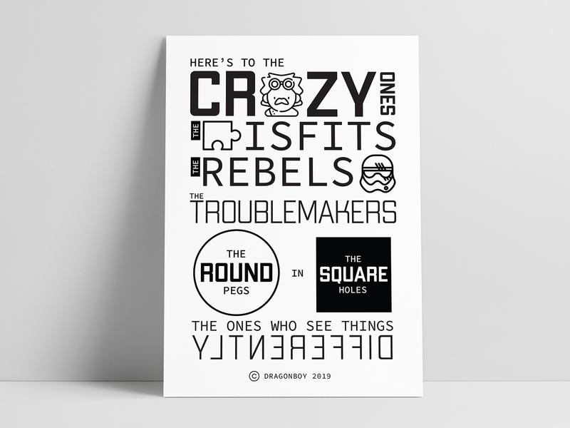 Crazy Ones | Steve Jobs Quotes geometric design geometric font geometric art poster art best design black  white vector inspiration black illustration typography design minimal abstract art steve jobs poster wall art