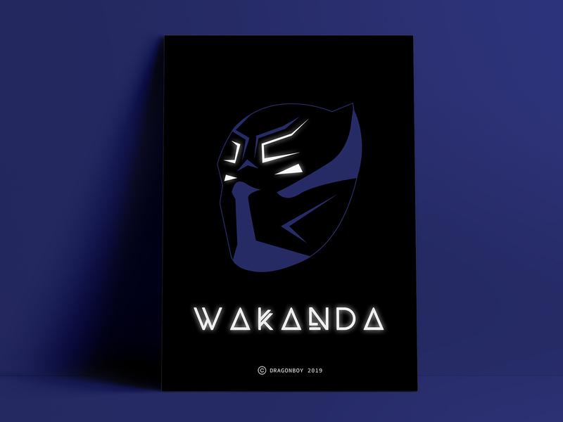 Wakanda Forever | Black Panther Poster Design [Wall Art Minimal] font design font illustation flat  design geometric art superhero marvel black  white vector minimal poster art poster wall art wakanda black panther