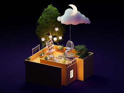 Dream Rooftop art rooftop dream chill blender 3d illustration design