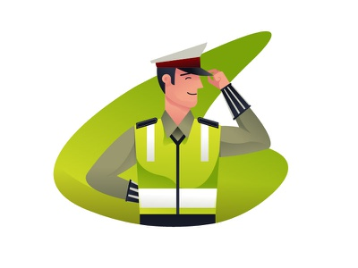 Polite Policeman polantas officer police gradient flat character illustration