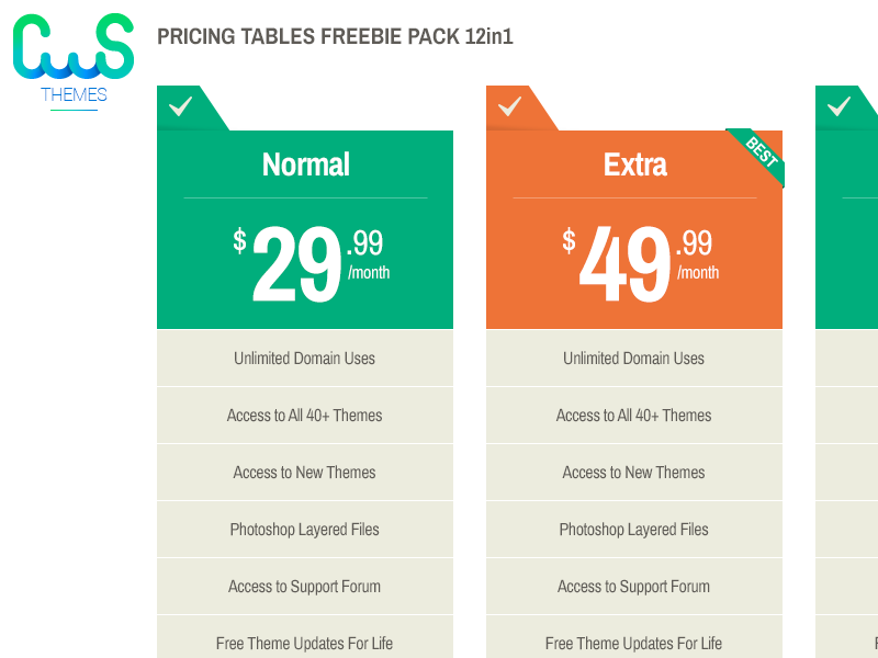 Freebie 12 in 1 Pricing Tables tables pricing free psd freebie