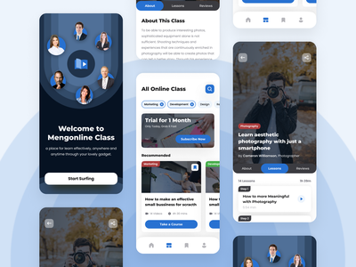 Mengonline Class 👨🏻💻 - Mobile App online class detail clean whitespace black blue mobile ui ios online class dark mobile app
