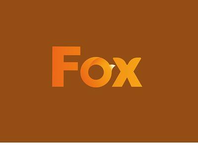Fox logo design. tail ears animal fox icon typography vector branding logo design illustration