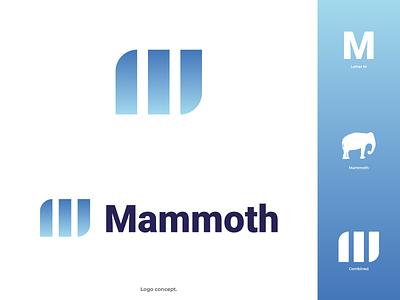 Mammoth Logo animal vector illustrator flat illustration ice blue gradients modern prehistory cold logodesign logo