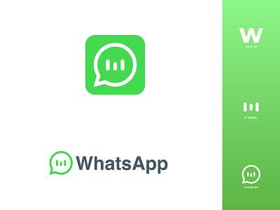 Whatsapp logo redesign logo design icon flat design modern chatting smartphone communication chat app chat messenger whatsapp logo design illustration