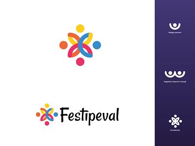 Festipeval logo design 2020 branding vector festival logo festipeval festival icon flat design modern illustrator flat design logo