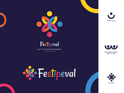 Festival Logo   Festipeval 2020 color colorfull happy people collect money festival logo festival sign branding design branding logo design vector icon flat design modern illustrator flat design logo illustration