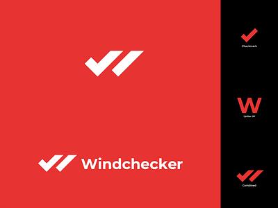 Windchecker Logo concept branding illustrator flat extreme modern logo design branding surfer surfing checkmarks checkmark w logo weather windy windfinder