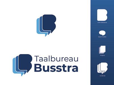 Taalbureau Busstra blue modern. vector illustration logo design branding illustrator flat design logo