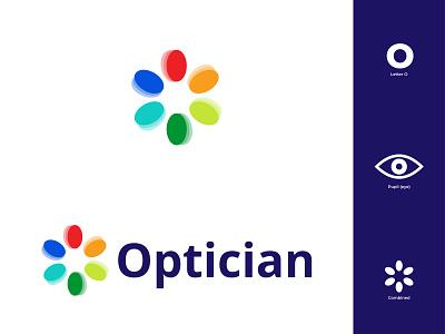 Optician Logo open colorful diffrent logodesign branding glasses pupil eye optical optician flat design modern flat illustrator design logo illustration