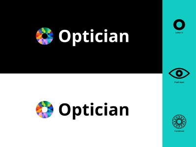 Optician Logo branding design colors colorful eyes eye glasses optician brandingdesign branding logo design icon vector flat design modern illustrator flat design logo illustration
