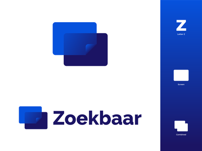 Zoekbaar Logo Concept branding design logo designs zoekbaar zoeken search engine bing searching google search seo screens blue color branding modern illustrator illustration design logo