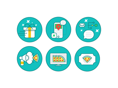 Experimental Illustrations megaphone stars location phone giftbox pizza thanx design flat illustration icon