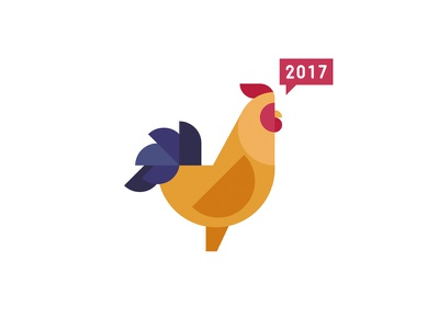 Chinese (Lunar) New Year 2017 shapes flat illustration zodiac lunar new year 2017 rooster cny chinese new year