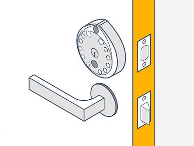 Gate Illustration drawing line flat smart lock smartlock door isometric illustration gate