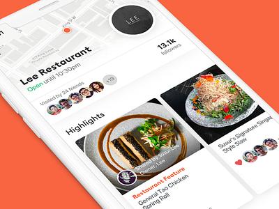 Yum menu dishes map restaurant ux ui ios11 iphone food