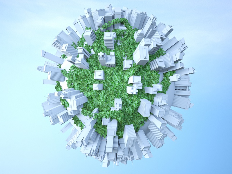 Ivy city planet city planet grow ivy hdri design otoy octane render c4d 3d