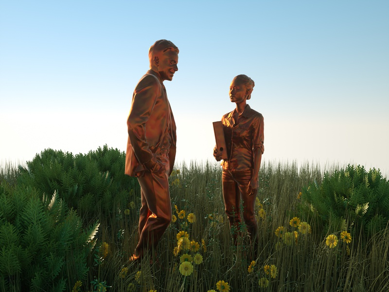 Statue bronze statue people nature ivy hdri design otoy octane render c4d 3d