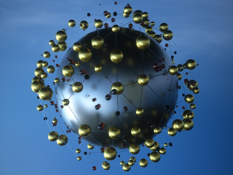 Sphere particle gold iron sphere randomize abstract hdri design otoy octane render c4d 3d