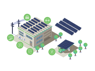 Illustration design panels sun solar panels solar electricity photovoltaics infographics buildings illustration