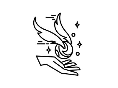 Quidditch ball icon linear stars hand ball wings quidditch. ball