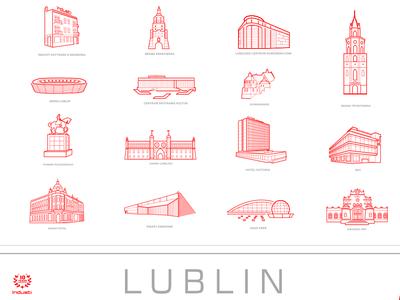 Lublin - buildings poster vector grafika design miastoinspiracji buildings buidling miasto lublin