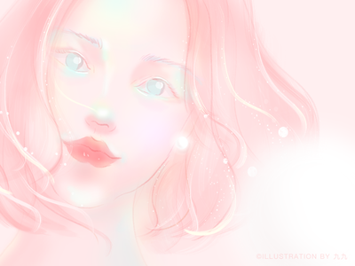 Girl with a pearl earring illustration pear pink girl