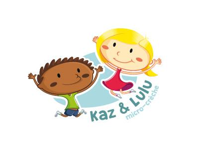 Kaz & Lulu kids logotype illustration identity brand logo