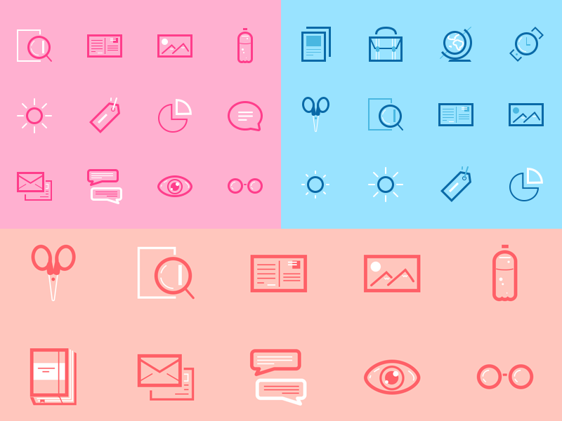 Mini Set Icons free icons utility glasses chat mail clock globe bag line psd scissor notebook