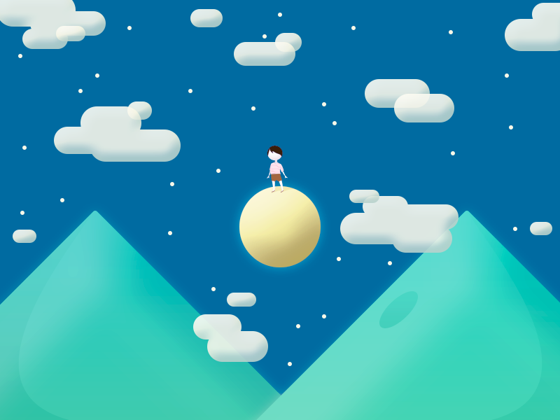 Night Landscape pixel night moon mountains starts illustration
