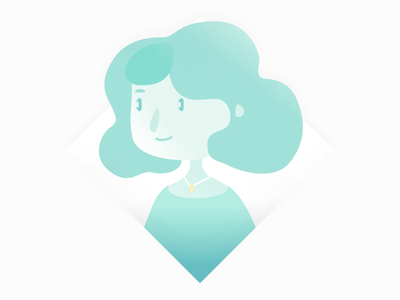 Lady Green flat character gradient graphic illustration placeholder profile