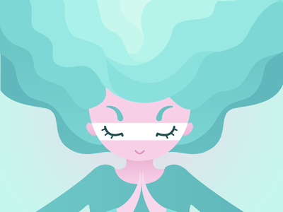 Dreaming girl wave levels flat illustration relax meditation
