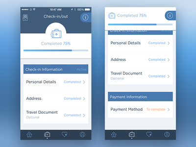 Fast Check-In/out Page process ui interface info loading scroll ios app hotel check-in