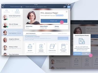 Conichi Merchant app interface details check-out banner guest list ipad ios app