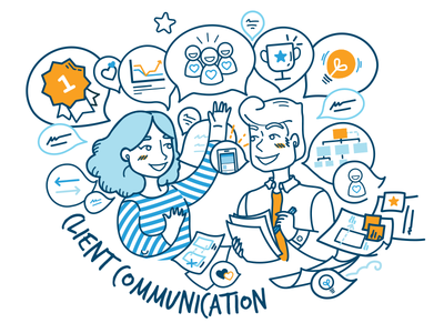 Design process / Client Communication ux girl meeting flat work chat ios android illustration communication client